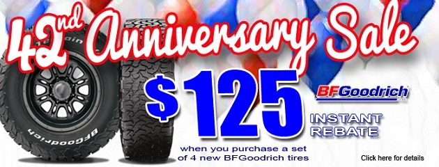 42nd Anniversary Sale. $125 Instant Rebate on a set of 4 BFGoodrich Tires!