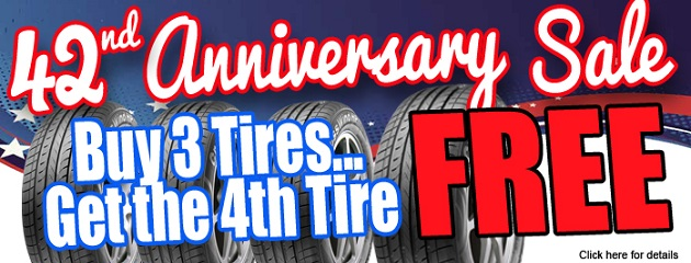 42nd Anniversary Sale. Buy 3 Tires...Get the 4th Tire FREE!