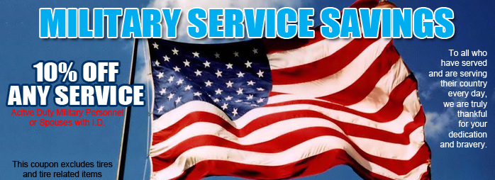 All Military Personnel Receive 10% OFF Any Service.