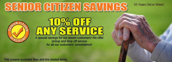 Senior Citizen Discount, 10% OFF Any Service.