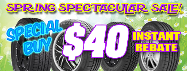 $40 Off TBC Tires! Spring Spectacular Sale!