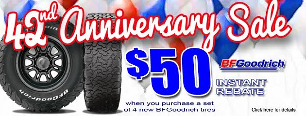 42nd Anniversary Sale. $50 Instant Rebate on a set of 4 BFGoodrich Tires!